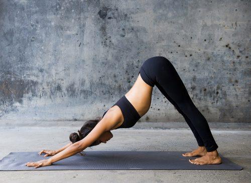 Mujer hace bolsa de yoga para perros